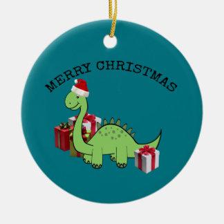 Cute funny  Christmas Santa dinosaur Christmas Ornament