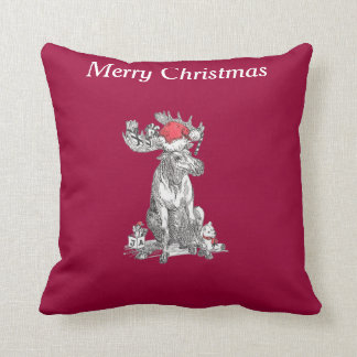 Cute Funny Christmas Sitting Moose Gifts Cushion