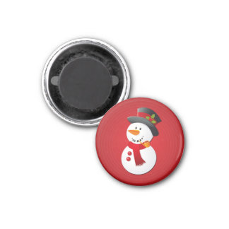 Cute & Funny Christmas Snowman 3 Cm Round Magnet