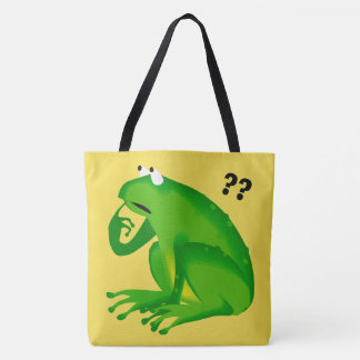 Cute Funny Clueless Green Frog Tote Bag