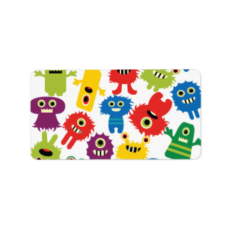 Cute Funny Colorful Monsters Pattern Address Label