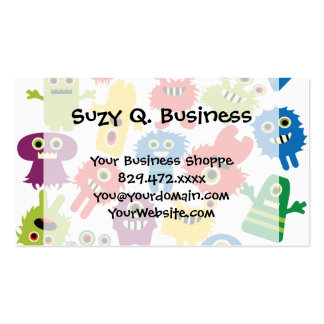 Cute Funny Colorful Monsters Pattern Business Card