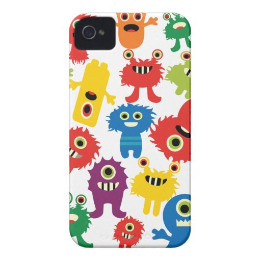 Cute Funny Colorful Monsters Pattern Case-Mate iPhone 4 Cases