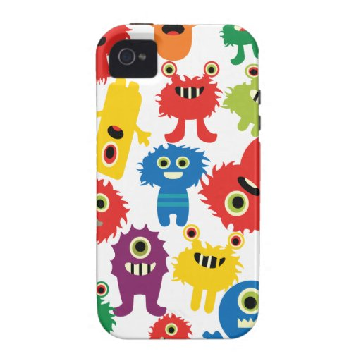 Cute Funny Colorful Monsters Pattern iPhone 4 Covers