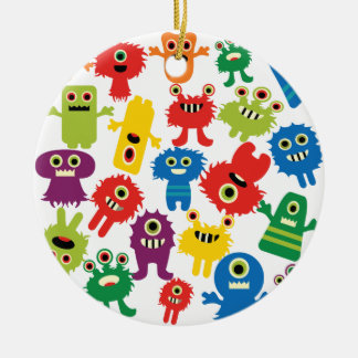 Cute Funny Colorful Monsters Pattern Christmas Ornament