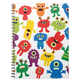 Cute Funny Colorful Monsters Pattern Spiral Note Books
