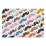 Cute Funny Colourful  Moustaches Pattern Poster