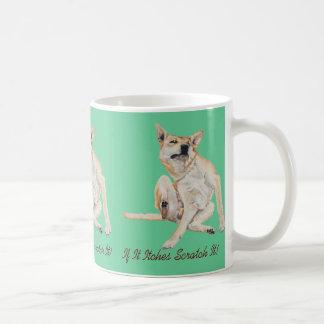 Cute funny dog scratching art with humorous slogan basic white mug