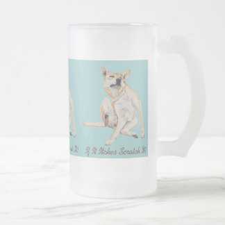 Cute funny dog scratching art with humorous slogan coffee mugs