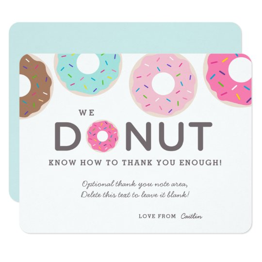 Cute Funny Doughnut Thank You Cards