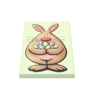 cute & funny easter bunny holding eggs cartoon canvas print