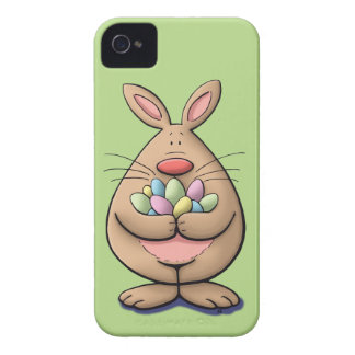 cute & funny easter bunny holding eggs cartoon iPhone 4 cases
