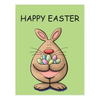 cute & funny easter bunny holding eggs cartoon postcard