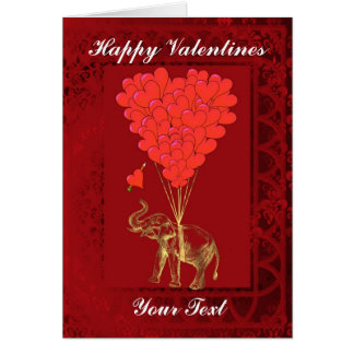 Cute funny elephant and heart, valentines card