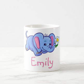 Cute Funny Elephant Flower Jungle Animal Kids Name Basic White Mug