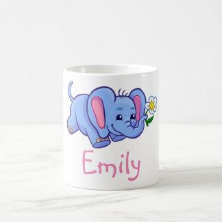 Cute Funny Elephant Flower Jungle Animal Kids Name Coffee Mug