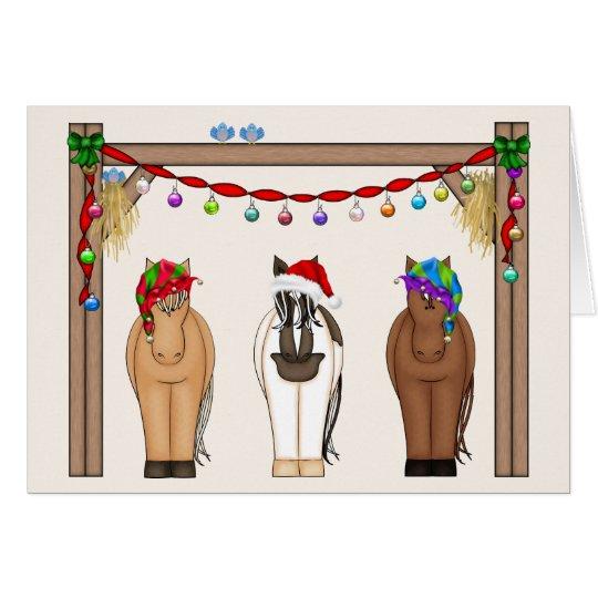 Cute Funny Farm Holiday Horses Christmas Card