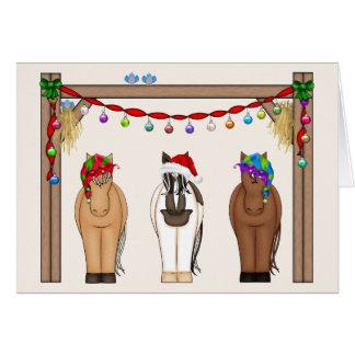 Cute Funny Farm Holiday Horses Christmas Greeting Card