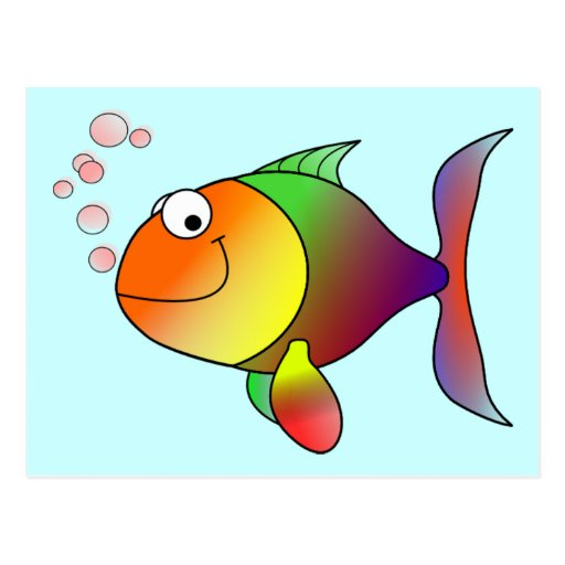 Cute Funny Fish - Colorful Post Card