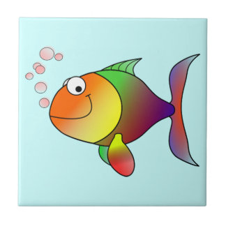 Cute Funny Fish - Colorful Small Square Tile
