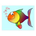 Cute Funny Fish - Colourful Postcard