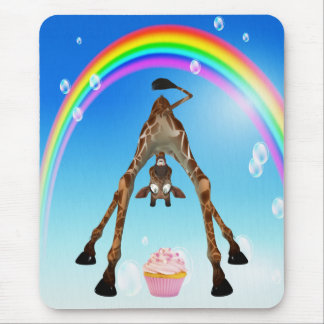 Cute, Funny Giraffe, Cupcake & Rainbow Mouse Pad
