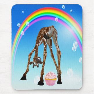 Cute Funny Giraffe Cupcake Rainbow Mouse Pad
