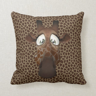 Cute Funny Giraffe Face Animal Fur Pattern Pillows