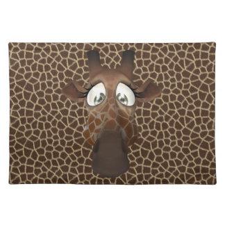 Cute Funny Giraffe Face Animal Fur Pattern Placemats