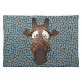 Cute Funny Giraffe Face Blue Animal Fur Pattern Placemats