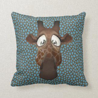 Cute Funny Giraffe Face Blue Animal Fur Pattern Cushion