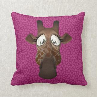 Cute Funny Giraffe Face Pink Animal Fur Pattern Cushions