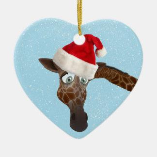Cute Funny Giraffe in Santa Hat Christmas Ornament