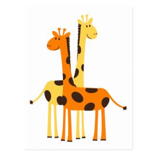 Cute Funny Giraffe Pair Postcard