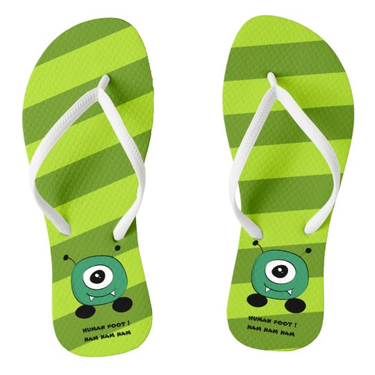 Cute Funny Green Alien Flip Flops