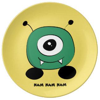 Cute Funny Green Alien Plate