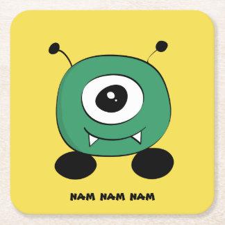 Cute Funny Green Alien Square Paper Coaster