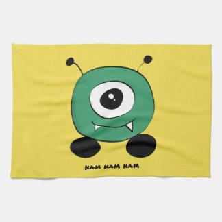 Cute Funny Green Alien Tea Towel
