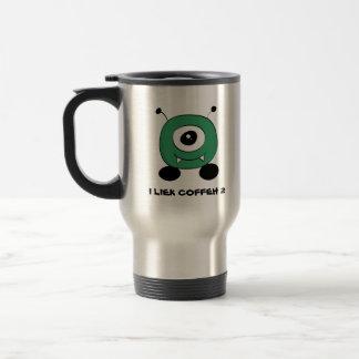Cute Funny Green Alien Travel Mug