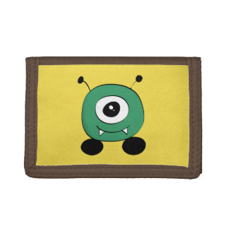 Cute Funny green Alien Tri-fold Wallet