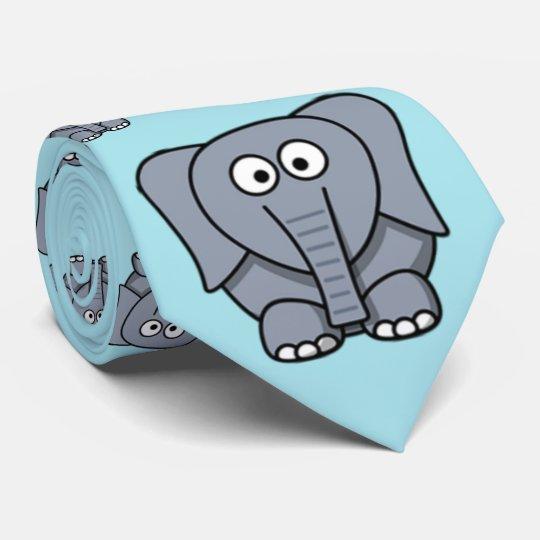 Cute, funny, grey cartoon elephant. Light Blue Tie