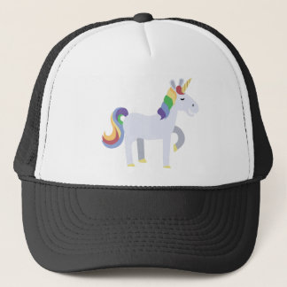 Cute Funny Grinning Unicorn with Rainbow Hair Trucker Hat