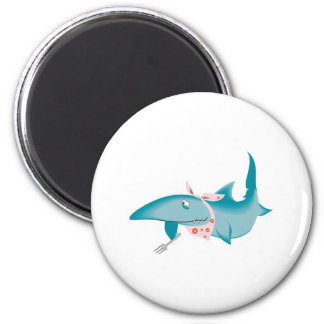 cute funny hungry shark 6 cm round magnet