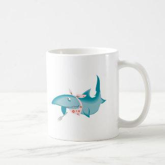 cute funny hungry shark basic white mug