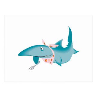 cute funny hungry shark postcard