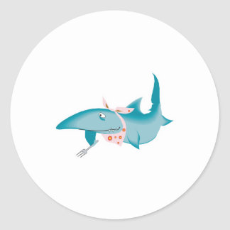 cute funny hungry shark round sticker