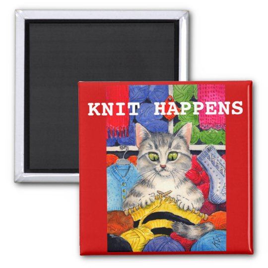 Cute funny knitting kitten magnet