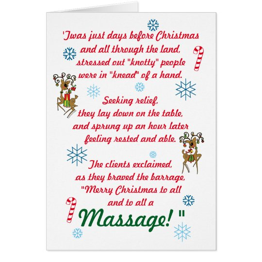 Cute Funny Massage Therapy Christmas Holiday Card
