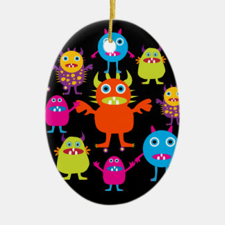 Cute Funny Monster Party Creatures in Circle Christmas Tree Ornament