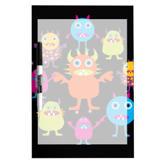 Cute Funny Monster Party Creatures in Circle Dry Erase Board